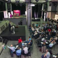 Mark Shuttleworth, founder Ubuntu, holds the audience spellbound