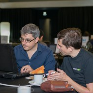 Asier working with Jose from Solaiemes on 3DWebRTC