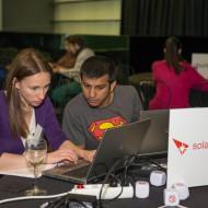 The winning Super Streamer team working on their hack
