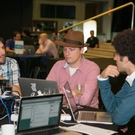 Ben Klang, Alex from Fairwaves and Jose from Tropo working on their hack