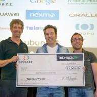 TADHack 2014 Apidaze Prize winner Frank Zhu with a WebRTC based Real Estate Demo