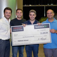 TADHack 2014 Oracle Prize winner Asier Arranz with the Optare Team