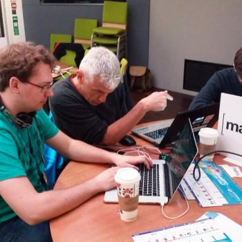 Steven, Bart, Timo working hard on their Matrix hack